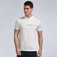 才子男装(TRIES)短袖T恤 男士2017年新款纯色简约字母印花百搭短袖休闲T恤