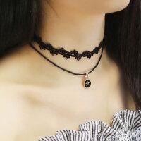 韩版可爱双层颈链原宿项圈颈带女星星短款锁骨项链时尚挂件装饰品