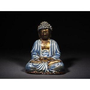 蓝釉青花漆金彩佛像