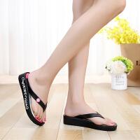 美人桥夹脚拖鞋女夏季简约沙滩凉拖鞋防滑高跟人字拖女厚底松糕鞋 黑色 厚3.8厘米