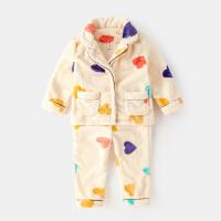 女童睡衣套装冬季保暖儿童家居服女宝宝两件