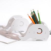 创意简约多功能桌面木质收纳盒 大象手机支架手机座笔筒办公文具