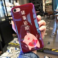 本命年可爱小猪苹果x手机壳酒红色iPhone xs max情侣8plus全包硅胶7plus蓝光软壳i i7/8 猪事皆