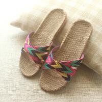 日式纯亚麻居家女士拖鞋透气轻便室内防滑软底家用凉拖鞋夏天