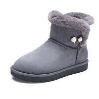 骆驼牌冬季短筒雪地靴女 加绒一脚蹬防滑保暖短靴韩版百搭学生靴子