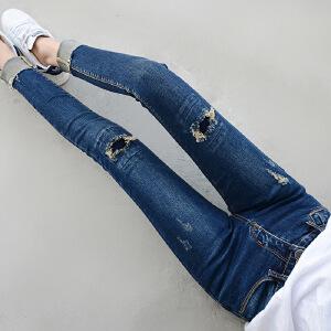 Modern idea2017新款韩版贴布牛仔裤女修身显瘦破洞大码中腰九分牛仔裤子
