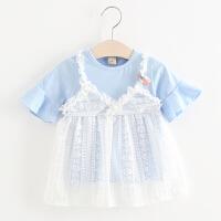 女宝宝洋气短袖T恤2018新款夏季婴儿童格子上衣2-3岁女童打底裙子 浅蓝色 小糖裙