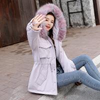 棉衣外套女加厚2018女装新款冬季羽绒韩版中长款冬装棉袄衣服 浅紫 M