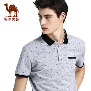 骆驼男装 夏装男士短袖t恤男翻领圆点印花青年Polo衫修身潮流体恤
