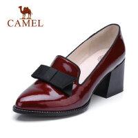 Camel 骆驼英伦风高跟鞋漆皮女鞋 2018春新款粗跟尖头单鞋蝴蝶结上班鞋