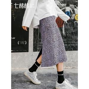 七格格半身裙女春装2019新款显瘦一步裙高腰中长款豹纹包臀裙子潮