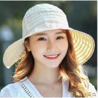 新款潮防晒可折叠凉帽 帽子女遮阳帽女防紫外线大沿沙滩太阳帽