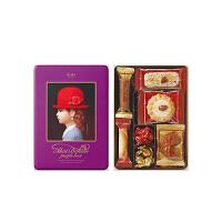 【年货】红帽子什锦曲奇饼干新年礼盒 紫色礼盒96g 日本进口休闲零食巧克力糖果伴手礼