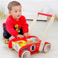 木丸子 儿童多功能字母学习积木车 儿童木制手推车木质学步车