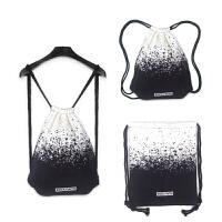 女士双肩背包新款设计黑白印花双肩抽绳包束口袋男女背包包旅行包包 墨点抽绳包