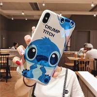 iphonex手机壳XS MAX史迪仔苹果7/8plus全包硅胶xr保护套女 XS MAX 蓝色史迪仔 蓝光