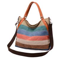 包包新款帆布包女包斜挎包单肩拼接大包欧美女式大容量手提包 彩虹色