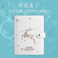 卡杰A5活页本圣诞本子创意手帐彩页日记本圣诞记事本子礼盒装定制