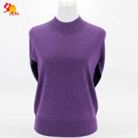 中老年羊毛衫打底衫半高领长袖妈妈装秋装毛衣套头奶奶针织羊绒衫 X