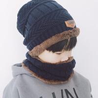 儿童帽子围脖两件套装男童护耳宝宝保暖
