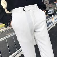 纯白色西裤 薄款夏款男士休闲小脚裤发型师司仪小礼服九分裤小脚