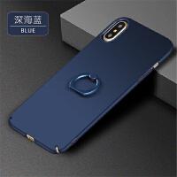 BaaN iphoneX手机壳苹果X全包指环支架手机保护套 藏青色