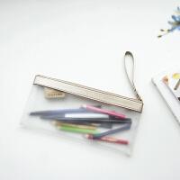 简约创意透明笔袋女高中学生男女半透明磨砂笔袋学生文具盒文具袋