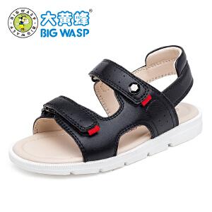 大黄蜂童鞋 2017夏季男款儿童皮凉鞋 儿童沙滩鞋男中大童鞋韩版潮