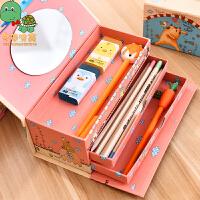 乌龟先森 文具盒  创意手提密码锁卡通收纳盒上下分层设计文具袋带小镜子笔袋男女学生奖品考试文具用品铅笔盒子
