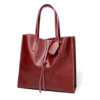 2018时尚真皮女包单肩牛皮购物袋手提真皮包简单实用女士大包