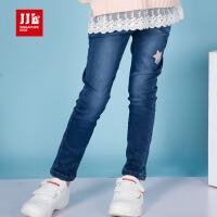 jjlkids季季乐童装2017秋季新款女童时尚牛仔裤简约百搭修身长裤