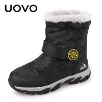 UOVO新款儿童雪地靴冬款男女童雪地靴女童靴子男童靴子冬季儿童冬靴雪地靴棉靴时尚潮流短靴中大童 阿拉斯加