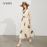 Amii宋代美学系列气质连衣裙女2021年夏季新款印花无袖背心裙长裙\预售8月3日发货