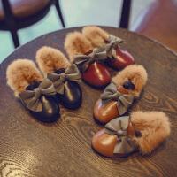 儿童鞋子兔毛保暖棉鞋公主鞋皮鞋宝宝