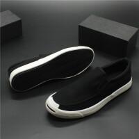 新款帆布鞋一脚蹬透气男鞋潮流青年开口笑低帮板鞋简约懒人休闲鞋