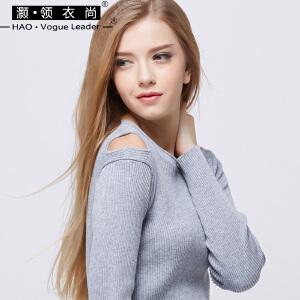 2018新款打底衫女长袖修身显瘦百搭圆领露肩个性外穿上衣针织衫