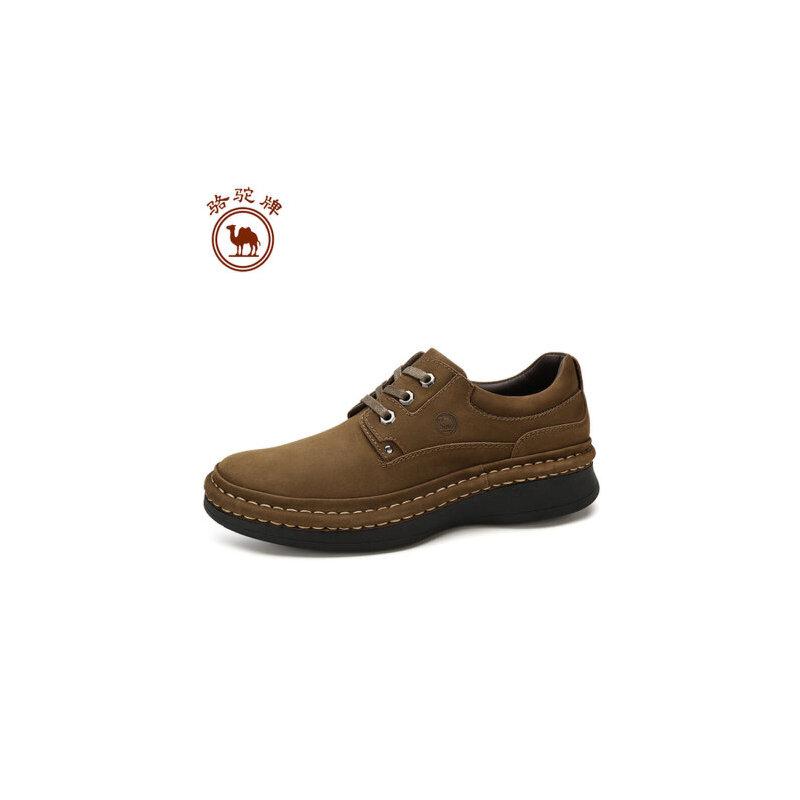 骆驼牌男鞋 秋冬新款手工缝线 休闲鞋男士厚底增高系带皮鞋