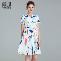 颜域品牌女装2017夏季新款优雅干练X型收腰V领数码印花连衣裙女