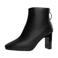 RD2019秋冬季新款短靴子女高跟鞋粗跟方头欧美风短筒马丁靴 黑色单里 春秋可穿