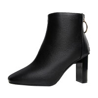 RD2019秋冬季新款短靴子女高跟鞋粗跟方�^�W美�L短筒�R丁靴 黑色�卫� 春秋可穿