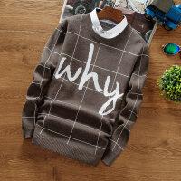 春秋季男士秋衣上衣服长袖T恤男装小衫假两件针织衫衬衫领打底衫