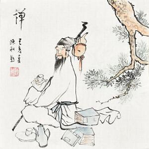 当代著名画家陈秋34 X 34CM人物画gr01247