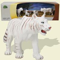 活石 老虎白虎动物仿真模型套装实心塑料静态野生生物玩具模型礼盒装