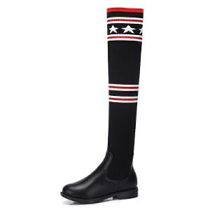 Camel/骆驼女鞋 秋冬新款 时尚显瘦拼接长筒靴女低跟套筒靴