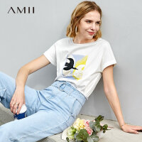 【预估价81元】Amii极简泫雅白色印花短袖T恤女2019夏季新宽松纯棉休闲打底上衣