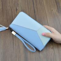 新款韩版女士钱包学生长款拉链大容量手包时尚拼色手机包厂家直销