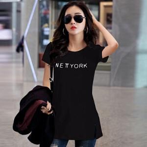 卡茗语 t恤女短袖2017夏季新款韩版女宽松短袖印花中长款打底衫体恤裙夏