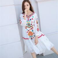 原创海滩裙沙滩裙海边度假泰国波西米亚短裙宽松大码白色刺绣连衣裙夏GH032 白色