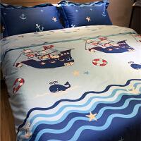 �棉�和�床上用品四件套 全棉男孩男童卡通床品床�伪惶�1.2m1.5米 海角七� 枕套花色�S�C剪裁
