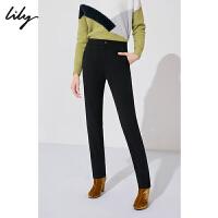 LILY春新款女装经典黑色修身显瘦通勤直筒铅笔裤118430C5508